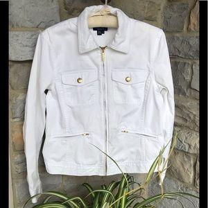 Chaps Size Small White 100% Cotton Denim Jacket